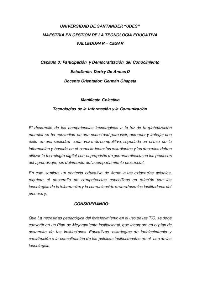 """UNIVERSIDAD DE SANTANDER """"UDES"""" MAESTRIA EN GESTIÓN DE LA TECNOLOGÍA EDUCATIVA VALLEDUPAR – CESAR Capitulo 3: Participació..."""