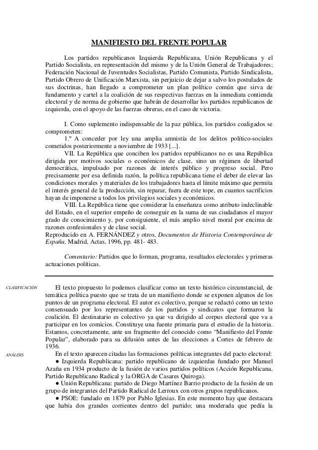MANIFIESTO DEL FRENTE POPULAR Los partidos republicanos Izquierda Republicana, Unión Republicana y el Partido Socialista, ...