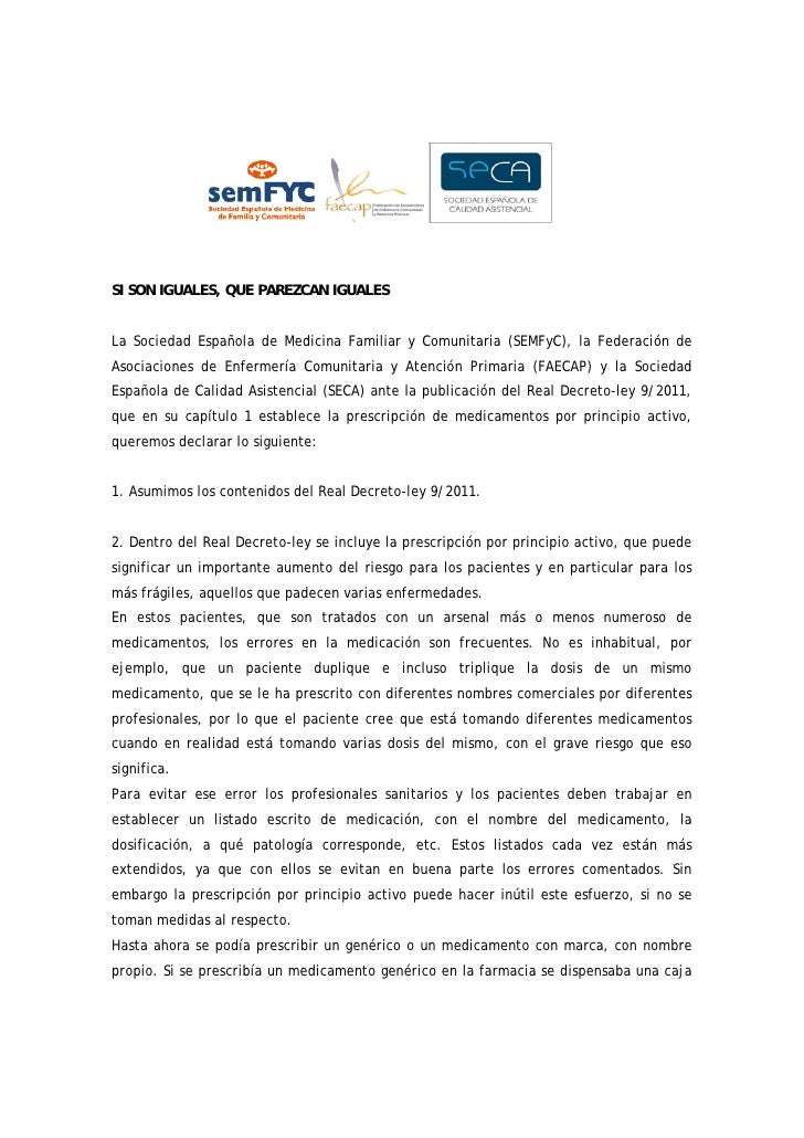 SI SON IGUALES, QUE PAREZCAN IGUALESLa Sociedad Española de Medicina Familiar y Comunitaria (SEMFyC), la Federación deAsoc...