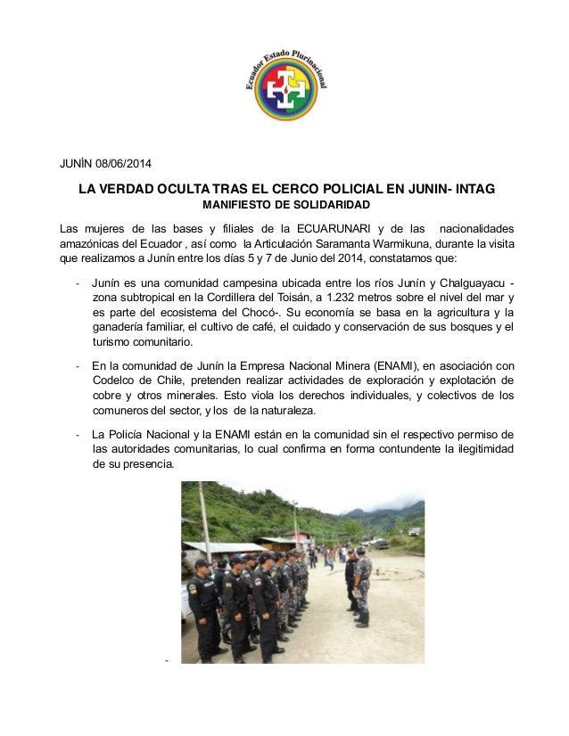 LA VERDAD OCULTA TRAS EL CERCO POLICIAL EN JUNIN- INTAG