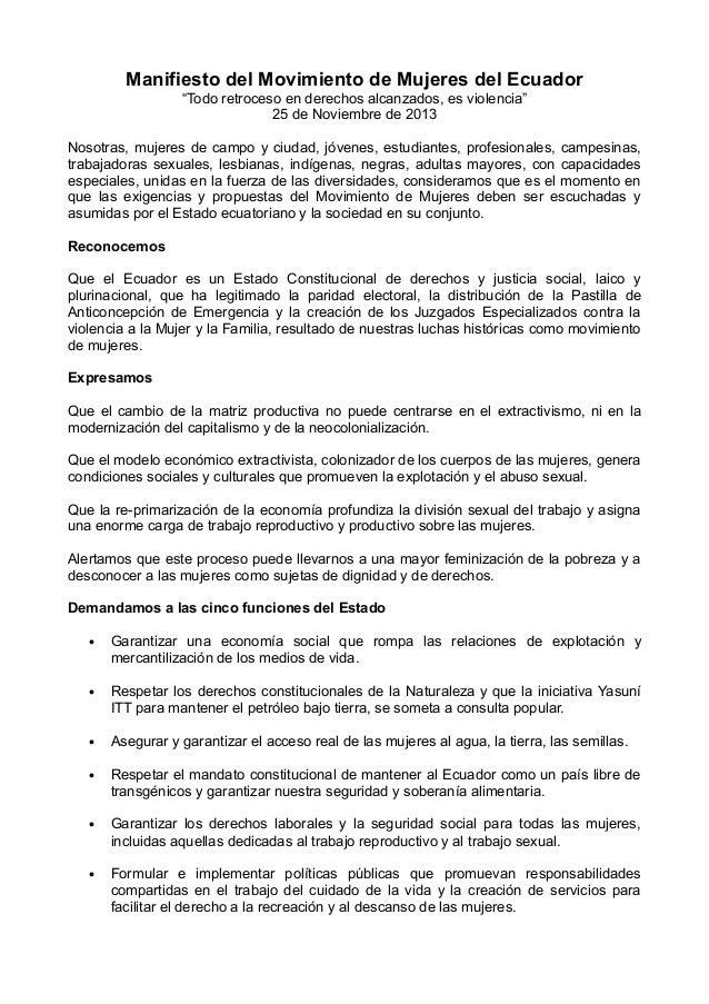 """Manifiesto del Movimiento de Mujeres del Ecuador """"Todo retroceso en derechos alcanzados, es violencia"""" 25 de Noviembre de ..."""