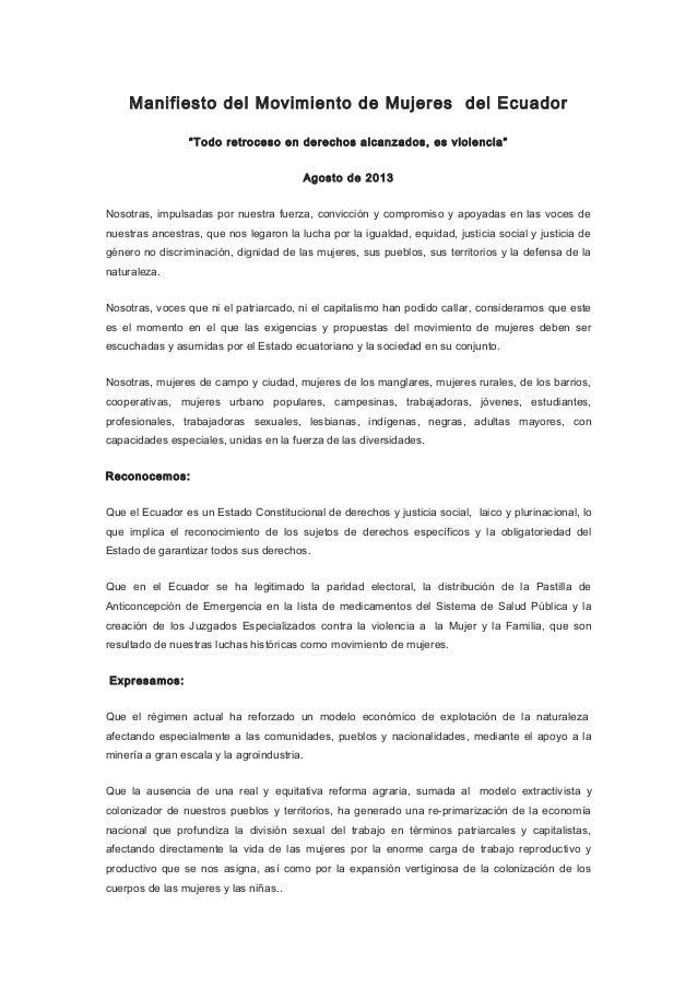 Manifiesto movimiento de mujeres. Octubre 2013