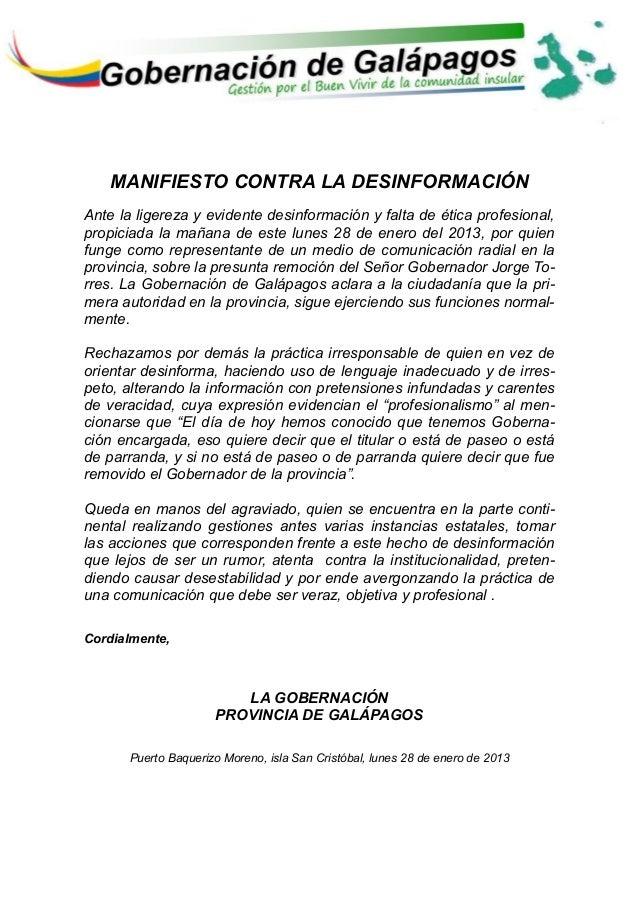 Manifiesto publico contra la desinformacion