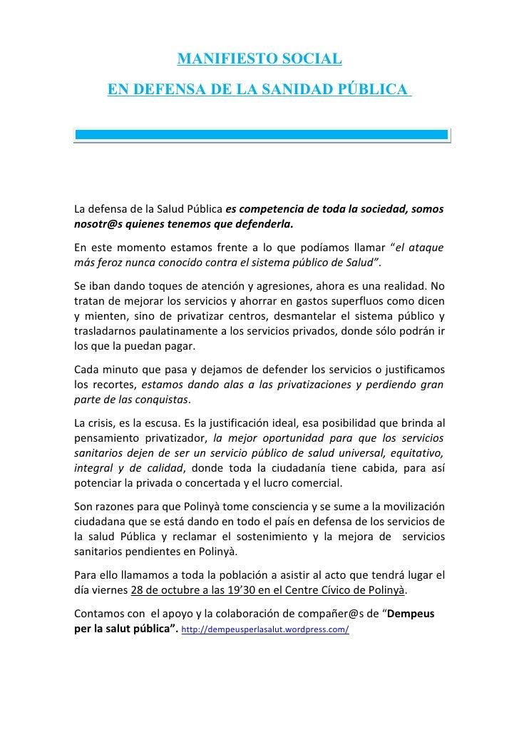 Manifiesto sanidad publica polinyà