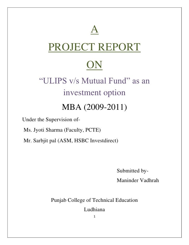 """A<br />PROJECT REPORT<br />ON<br />""""ULIP..."""