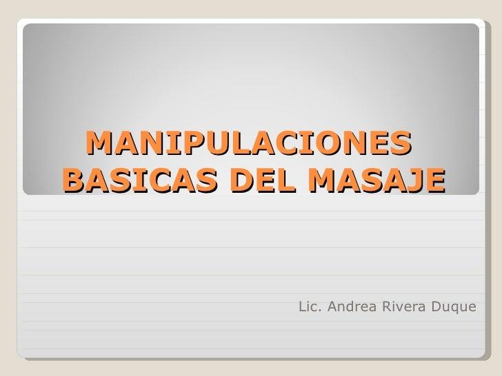 Manipulaciones  basicas del masaje