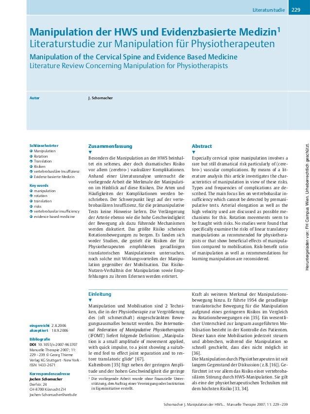 Manipulation der HWS und Evidenzbasierte Medizin1 Literaturstudie zur Manipulation für Physiotherapeuten Manipulation of t...