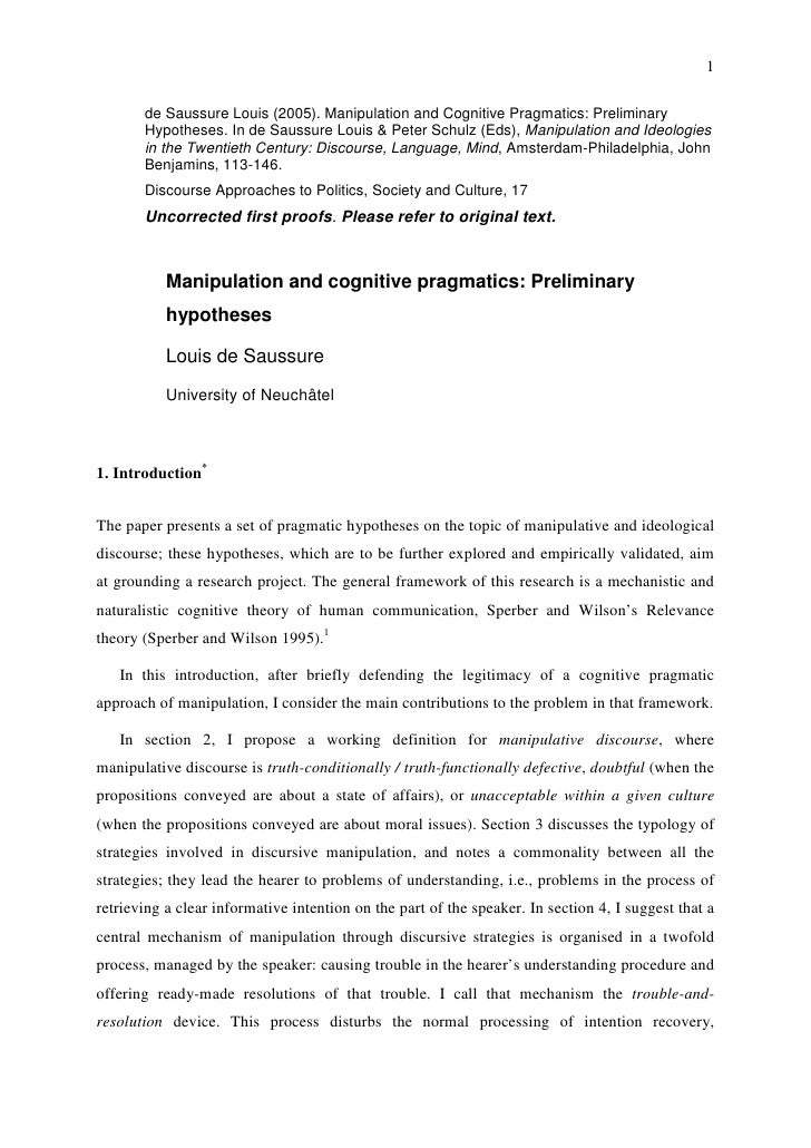 Manipulation and cognitive pragmatics. Preliminary hypotheses
