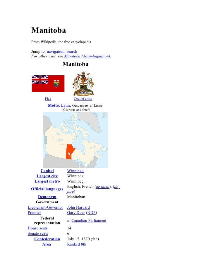 Manitoba   From Wikipedia, the free encyclopedia    Jump to: navigation, search   For other uses, see Manitoba (disambigua...