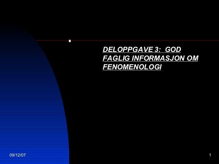 . DELOPPGAVE 3:  GOD FAGLIG INFORMASJON OM FENOMENOLOGI