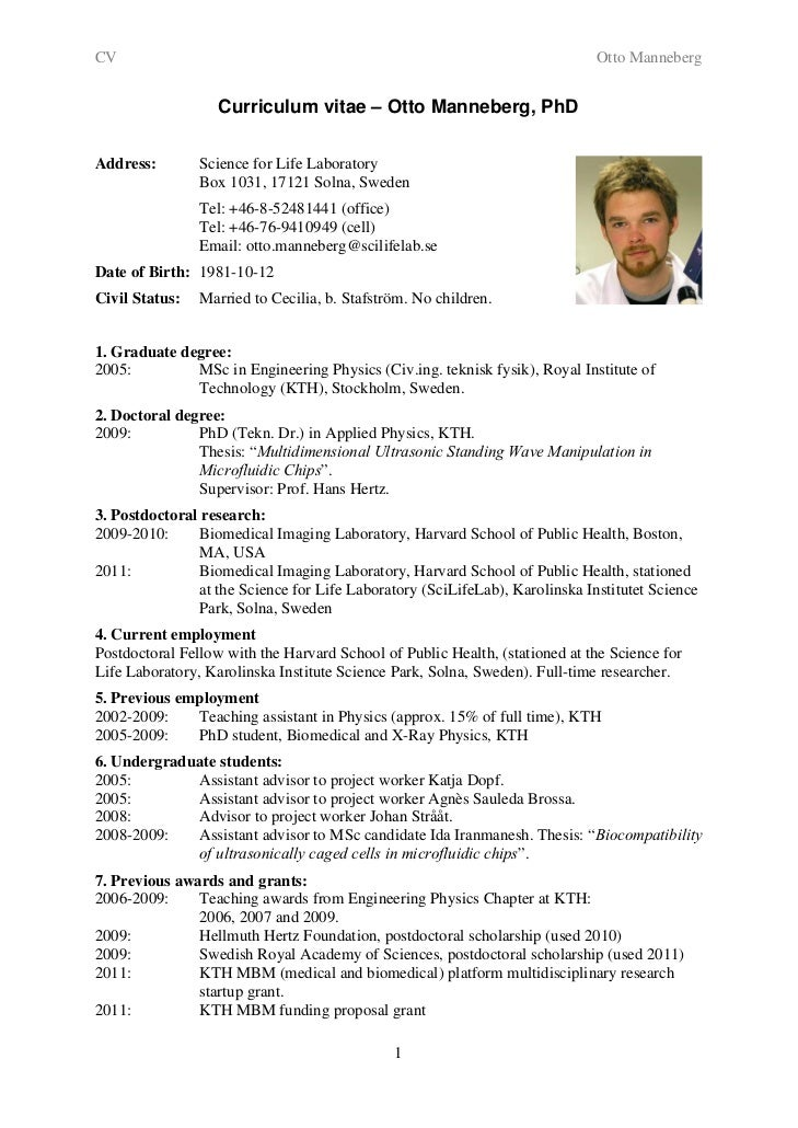 Resume For Applying For A Phd