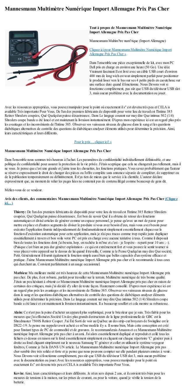 Mannesmann Multimètre Numérique Import Allemagne Prix Pas CherAvec les ressources appropriées, vous pouvez manipuler pour ...