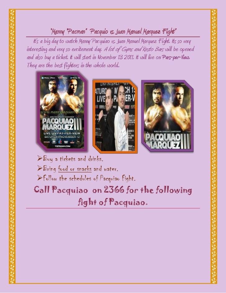 """Manny ""Pacman"" Pacquio vs. Juan Manuel Marquez Fight""    It's a big day to watch Manny Pacquiao vs. Juan Manuel Marquez F..."