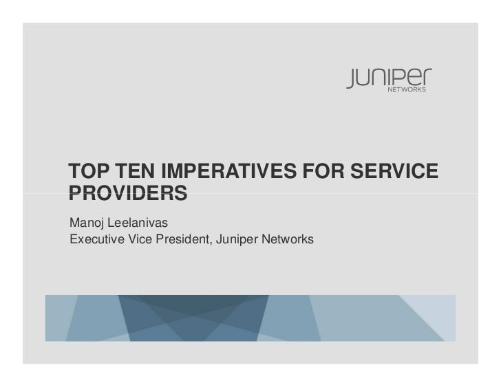 Top Ten Imperatives for Service Providers