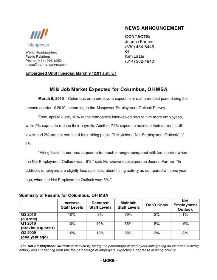 Mild Job Market Expected for Columbus, OH MSA