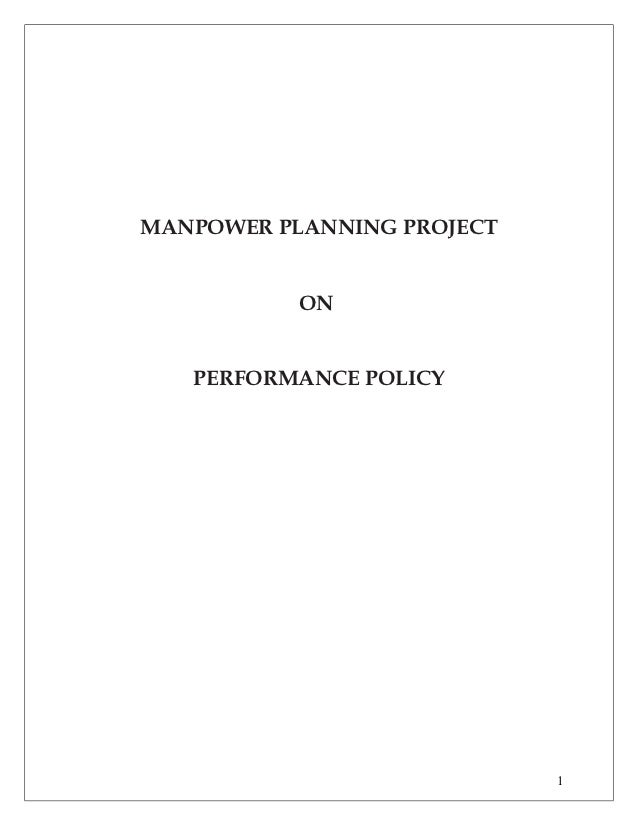 MANPOWER PLANNING PROJECT           ON   PERFORMANCE POLICY                            1