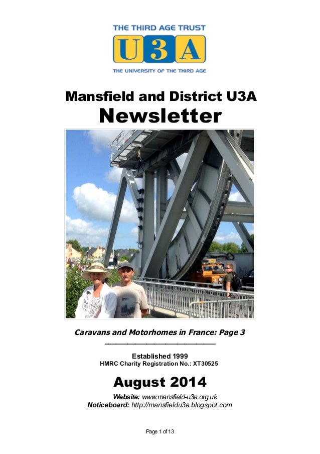 Mansfield and District U3A Newsletter Caravans and Motorhomes in France: Page 3 _____________________________ Established ...