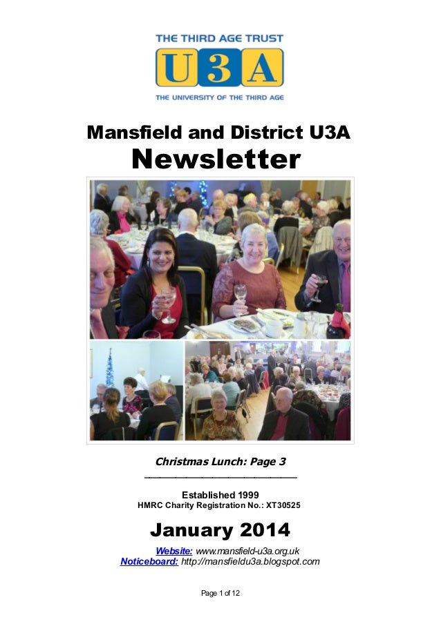 Mansfield and District U3A  Newsletter  Christmas Lunch: Page 3 _____________________________ Established 1999 HMRC Charit...