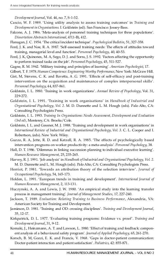 Training Needs Analysis essay