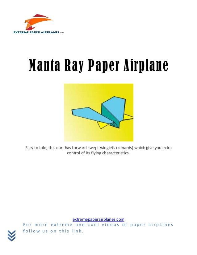 Manta ray paper airplane
