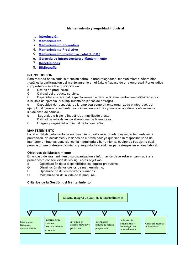 Mantenimiento y seguridad industrial          1.    Introducción          2.    Mantenimiento          3.    Mantenimiento...