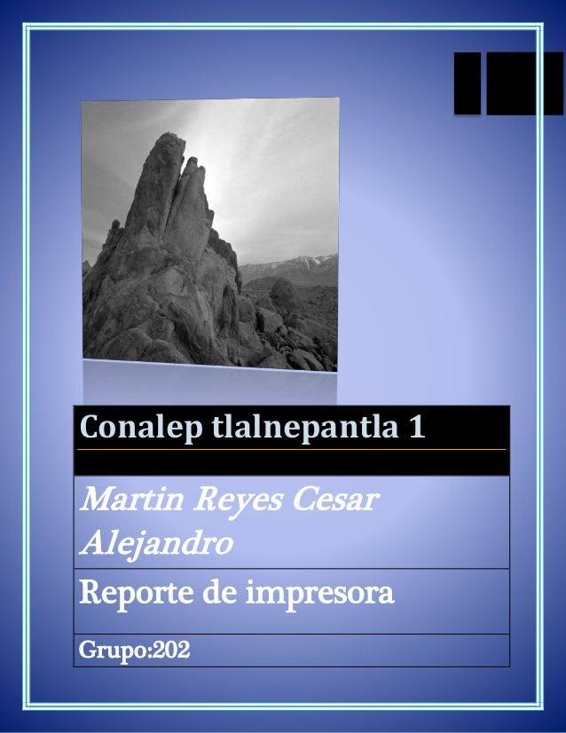 Conalep tlalnepantla 1 Martin Reyes Cesar Alejandro Reporte de impresora Grupo:202