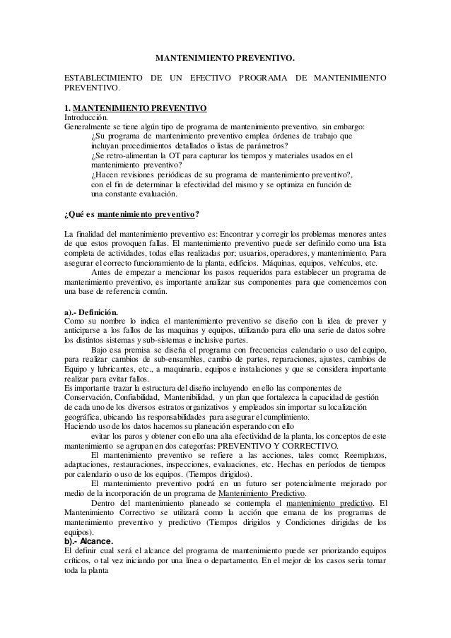 MANTENIMIENTO PREVENTIVO. ESTABLECIMIENTO DE UN EFECTIVO PROGRAMA DE MANTENIMIENTO PREVENTIVO. 1. MANTENIMIENTO PREVENTIVO...