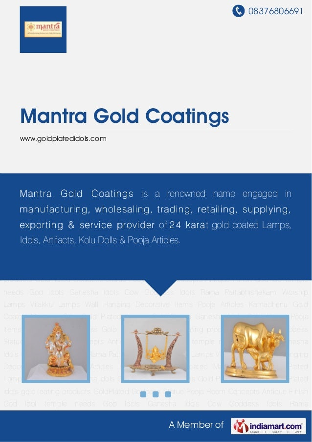 08376806691A Member ofMantra Gold Coatingswww.goldplatedidols.comGod Idols Ganesha Idols Cow Goddess Idols Rama Pattabhish...