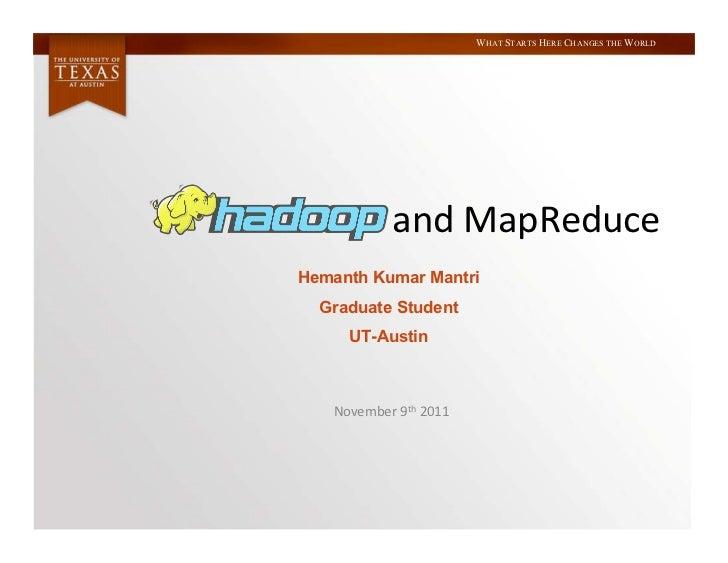 Hadoop and MapReduce
