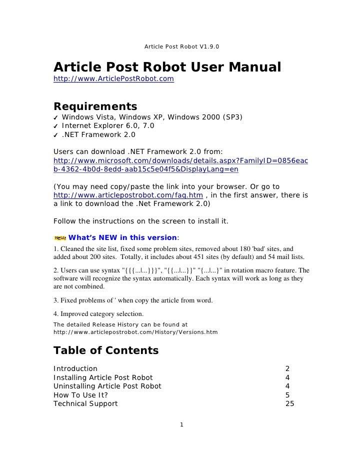 Article Post Robot V1.9.0   Article Post Robot User Manual http://www.ArticlePostRobot.com    Requirements ✔   Windows Vis...