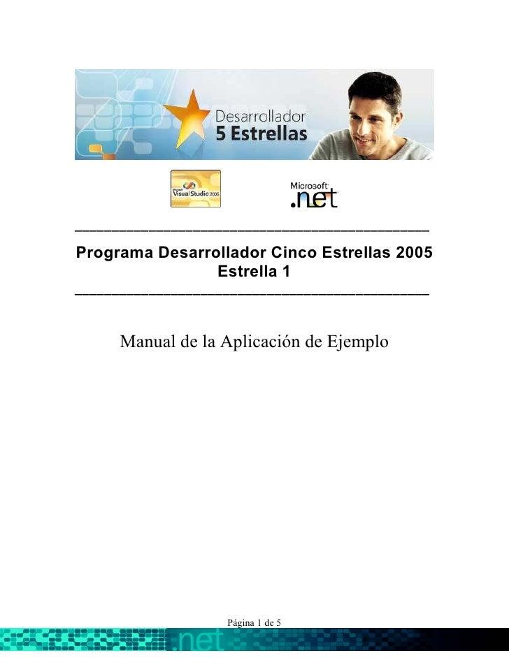 ________________________________________________  Programa Desarrollador Cinco Estrellas 2005                 Estrella 1 _...