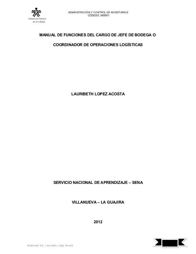 ADMINISTRACIÓN Y CONTROL DE INVENTARIOS                                            CÓDIGO: 349501 Sistema de Gestión      ...