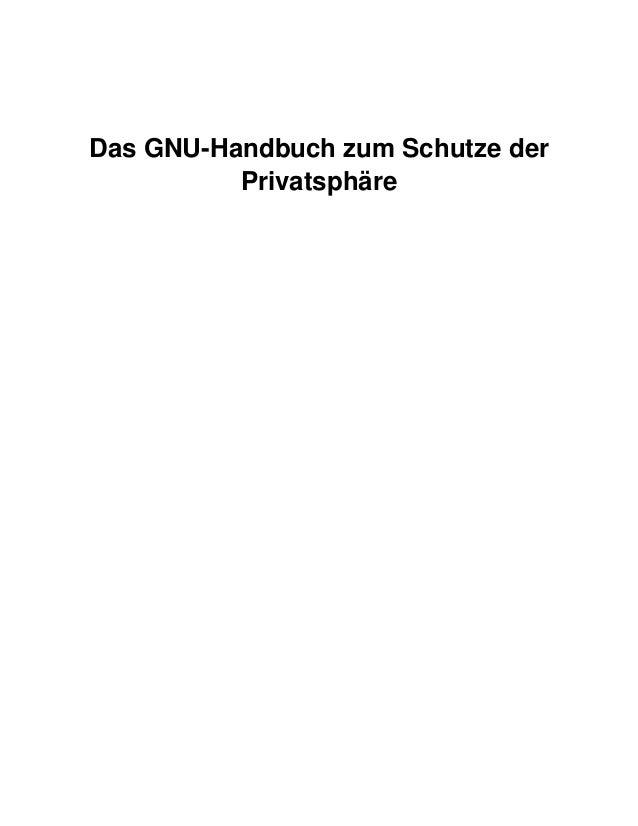 GNU-Handbuch (Manual) zum Schutze der Privatsphäre