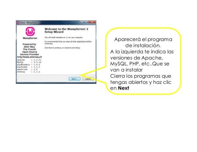 Aparecerá el programa de instalación. A la izquierda te indica las versiones de Apache, MySQL, PHP, etc..Que se van a inst...