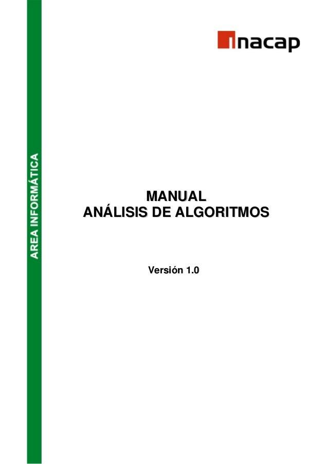 MANUAL  ANÁLISIS DE ALGORITMOS  Versión 1.0