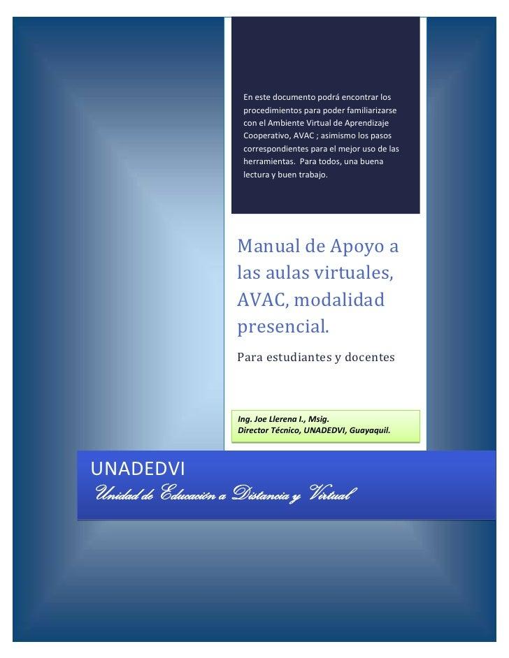 Manual de Capacitación Avac UNADEDVI Guayaquil
