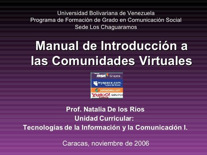 Manual de Introducción a las Comunidades Virtuales
