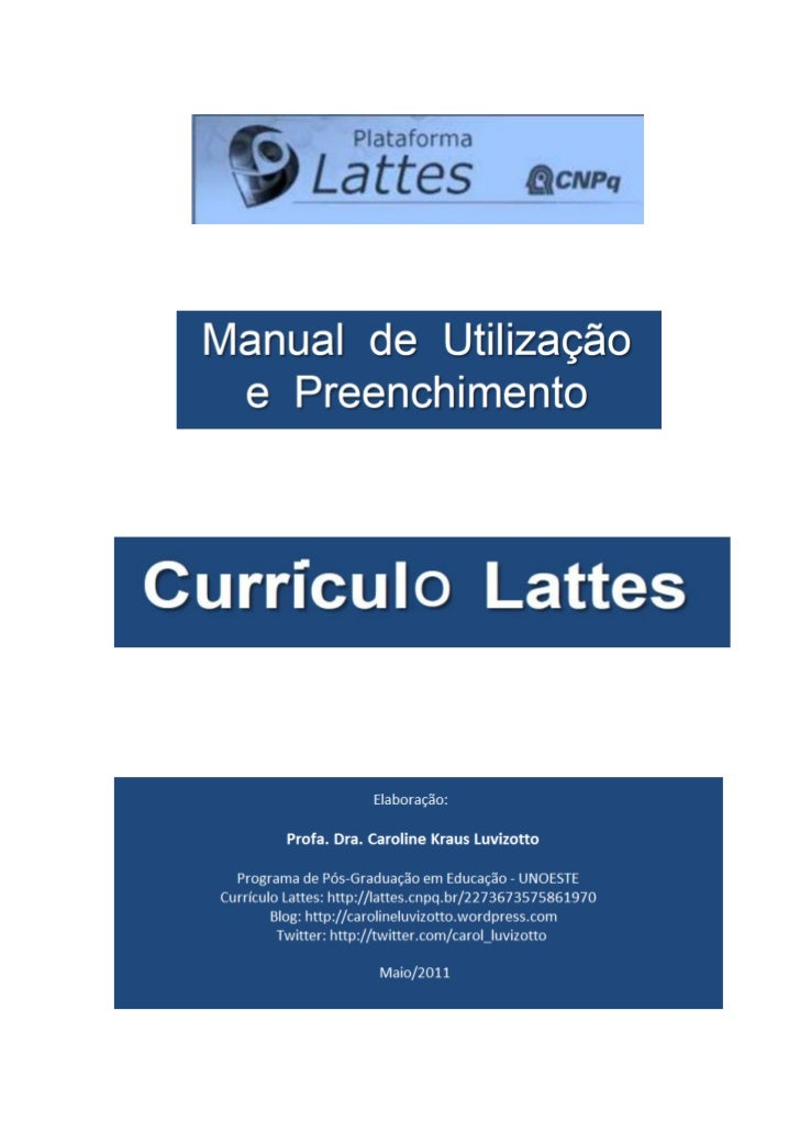 Manual de preenchimento do Currículo Lattes