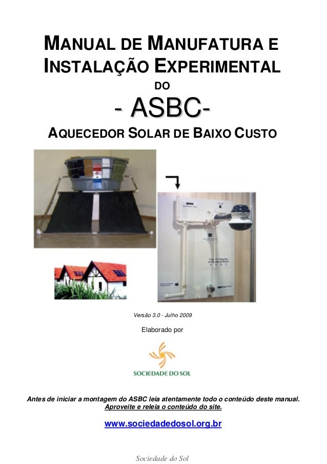 Manual do Aquecimento Solar de Baixo Custo