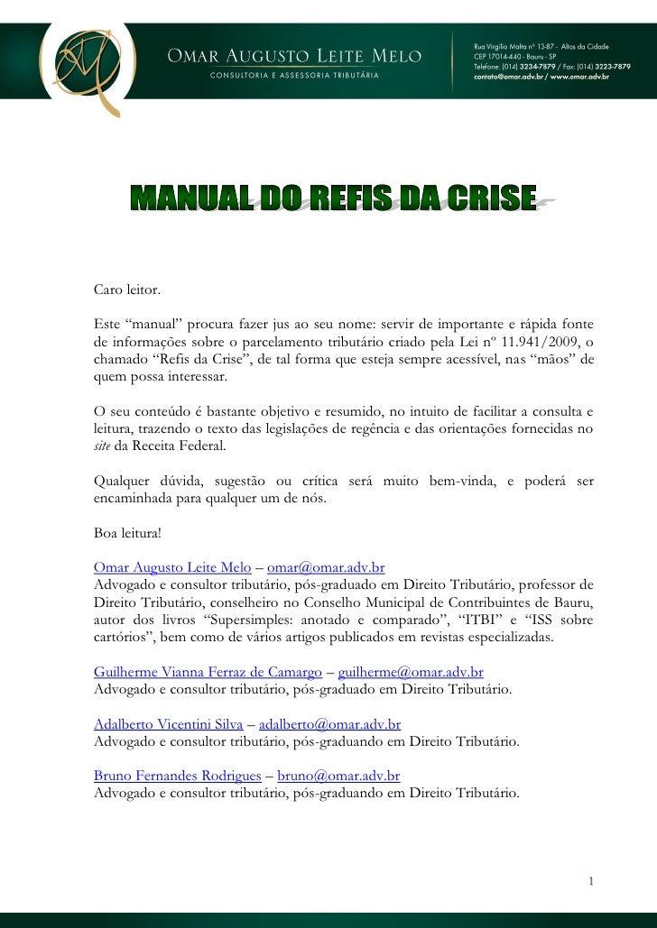 Manual do Refis da Crise