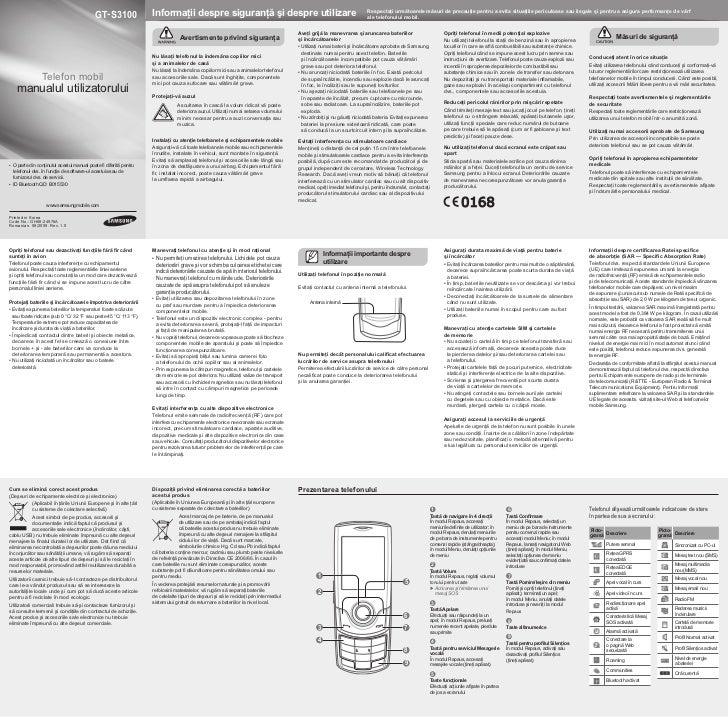GT- S3100                 Informaţii despre siguranţă şi despre utilizare                                                 ...