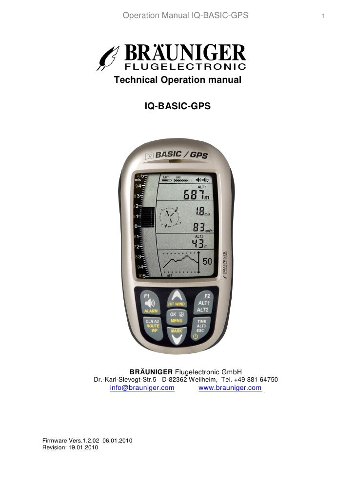 Operation Manual IQ-BASIC-GPS                       1                             Technical Operation manual              ...