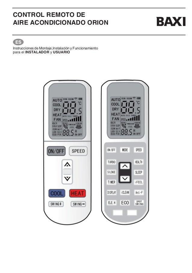 Manual del mando a distancia baxi orion aire acondicionado for Manual aire acondicionado