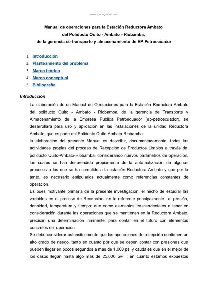 www.monografias.com           Manual de operaciones para la Estación Reductora Ambato                     del Poliducto Qu...