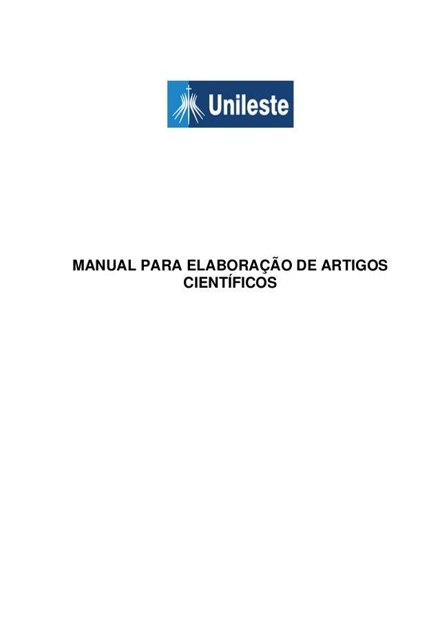 MANUAL PARA ELABORAÇÃO DE ARTIGOSCIENTÍFICOS