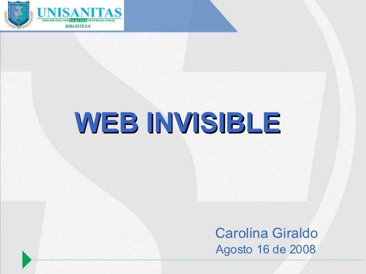 BIBLIOTECA WEB INVISIBLE Carolina Giraldo Agosto 16 de 2008