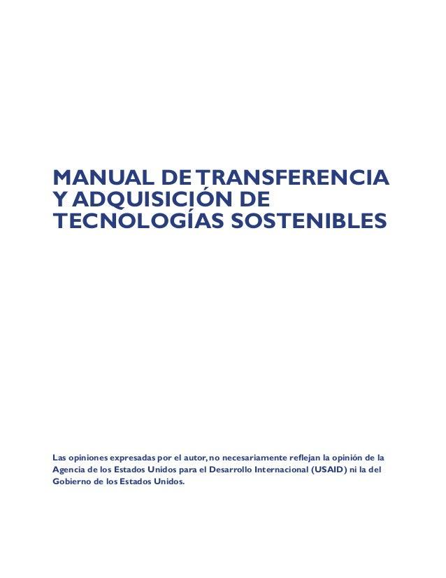 Manual de Transferencia y Adquisición de Tecnologias Sostenibles