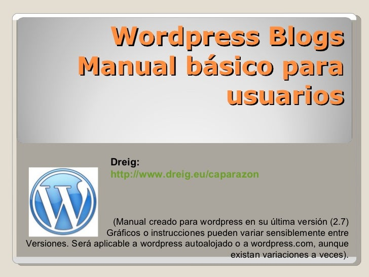 Manual Usuario Wordpress (Administracion Basico)