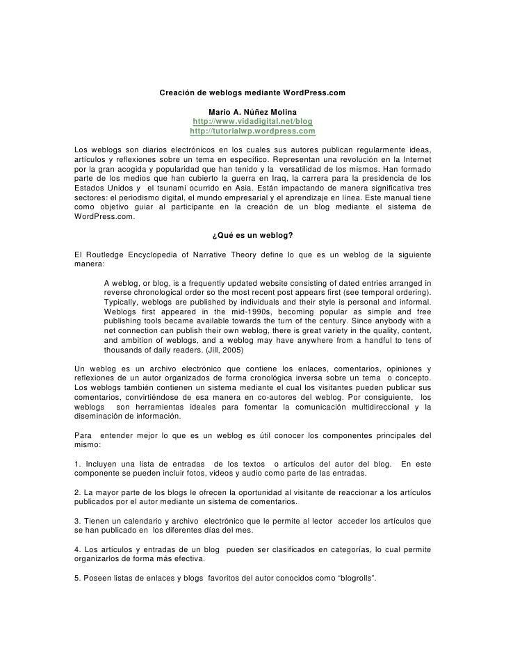 Creación de weblogs mediante WordPress.com                                       Mario A. Núñez Molina                    ...