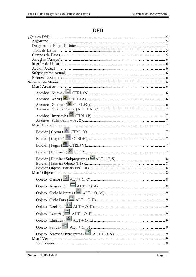 DFD 1.0: Diagramas de Flujo de Datos Manual de Referencia  DFD  ¿Que es Dfd?.................................................